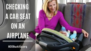 checking a car seat on an airplane